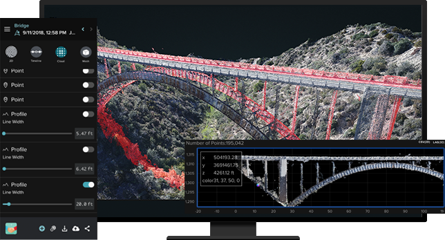 Desktop screen showing an image of a bridge that had been captured by a drone ready and analysis software