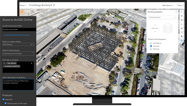 Desktop screen with drone image of an office complex and cars in a parking lot and a settings pain with ArcGIS Online options