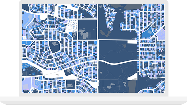 Illustrated map of residential neighborhoods overlaid with data